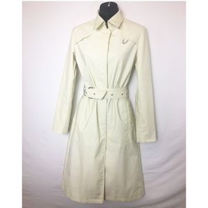 Cole Haan Country Ivory Mid Length Trench Coat Sz2